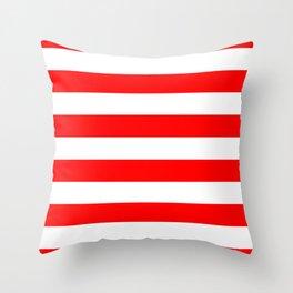 Australian Flag Red and White Wide Horizontal Cabana Tent Stripe Throw Pillow