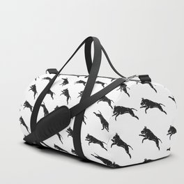 Jumping Dog With Leaves –black palette Duffle Bag