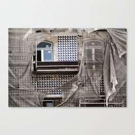 Antique Building's Facade with Scaffolding Canvas Print