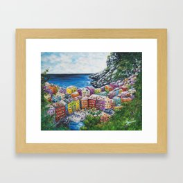 Cosy Cove from Cinque Terre, Italia Framed Art Print
