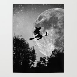 Flying witch | Moon witch | Witch cat | Witch broom | Halloween Poster