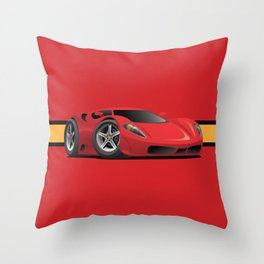 Red Hot Sports Car Cartoon Throw Pillow