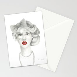 Veiled Red Lips Lady Stationery Cards