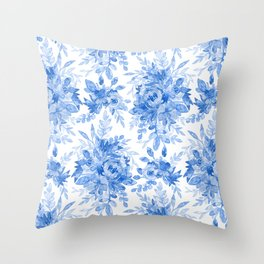 Juicy Watercolor Chintz in Cornflower Blue on White  Throw Pillow