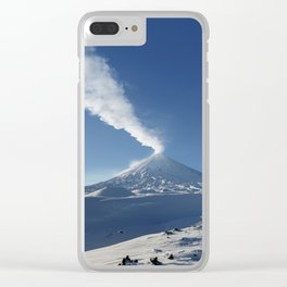 Eruption Klyuchevskoy Volcano - winter view of active volcano in Kamchatka Peninsula Clear iPhone Case