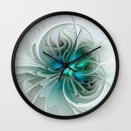 Abstract With Blue, Fractal Art Wall Clock