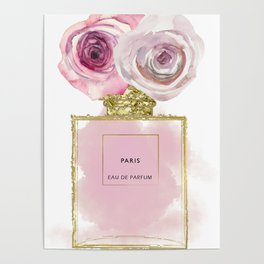 Pink & Gold Floral Fashion Perfume Bottle Poster