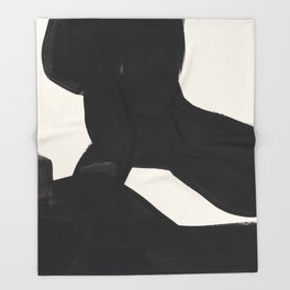 Mid Century Modern Minimalist Abstract Art Brush Strokes Black & White Ink Art Color Field Maze Throw Blanket