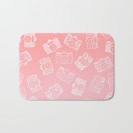 Girly modern hand drawn cameras pattern on pink blush ombre Bath Mat