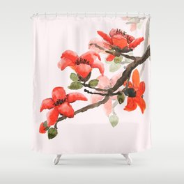 red orange kapok flowers watercolor Shower Curtain