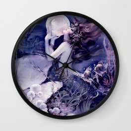 Mermaid With Pearl Midnight Blue Purple Wall Clock