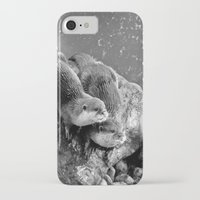 otters iPhone & iPod Cases featuring Otters in mono by Shalisa Photography