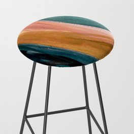 Breathe: a vibrant bold abstract piece in greens, ochre, and pink Bar Stool