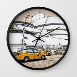 Guggenheim New York, umbrellas and yellow cabs. Sketch Wall Clock