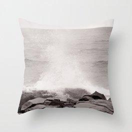 Splash onto a Rocky Shore Throw Pillow