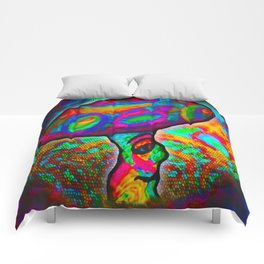 Shroomery #1 Psychedelic Colorful Mushroom Trippy Character Design Comforters