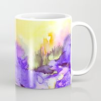 jazzberry Mugs featuring INTO ETERNITY, YELLOW AND LAVENDER PURPLE Colorful Watercolor Painting Abstract Art Floral Landscape by EbiEmporium