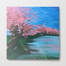 Cherry Blossom Lake Metal Print