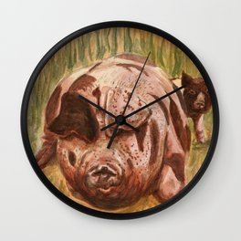 """Momma Pig and Piglet Wall Clock"