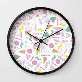 Abstract retro pink teal yellow geometrical 80's pattern Wall Clock