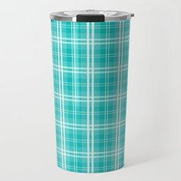 Aqua Blue Tartan Scottish Clan McTiff Travel Mug