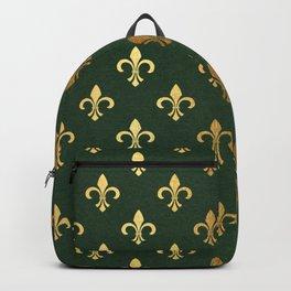 Green and Metallic Gold Fleur-de-lis Backpack