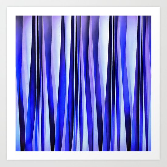 Peace and Harmony Blue Striped Abstract Pattern Art Print