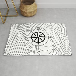 Topographic Line Pattern with Compass #797 Rug