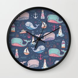 Whale Toss Wall Clock