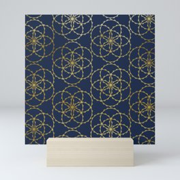 Metallic gold seed of life pattern Mini Art Print