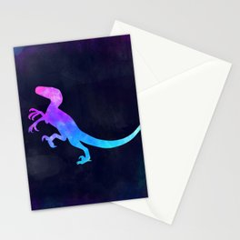 VELOCIRAPTOR IN SPACE // Dinosaur Graphic Art // Watercolor Canvas Painting // Modern Minimal Cute Stationery Cards