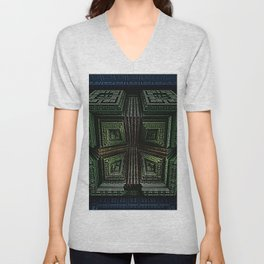 Cubic Squares Blue, green, yellow, and red abstract art by Jeanpaul Ferro Unisex V-Neck