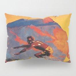 Hawaii Surfing, Diamondhead, World Airways Vintage Travel Poster Pillow Sham
