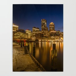 BOSTON Fan Pier Park & Skyline in the evening Poster