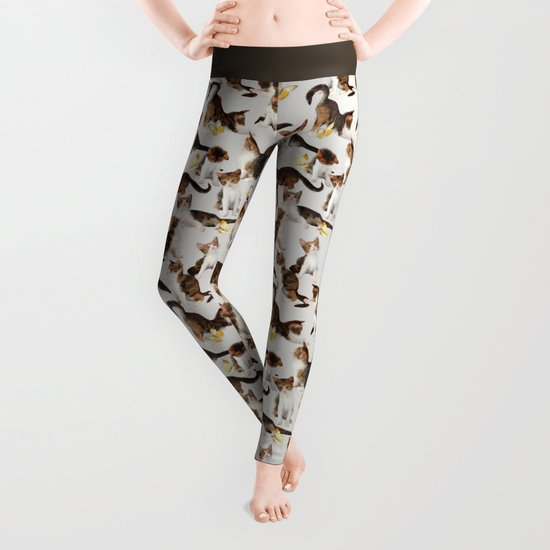 Kittens and Butterflies - a painted pattern Leggings