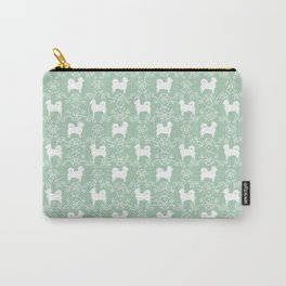 Chihuahua long haired mint and white floral silhouette pattern dog breed art Carry-All Pouch