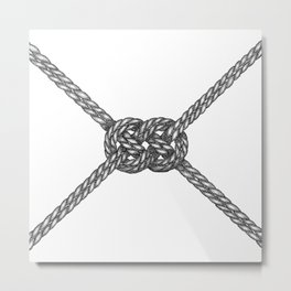 Double Coin Knot White Metal Print