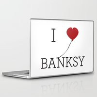 banksy Laptop & iPad Skins featuring I heart Banksy by Simple Symbol