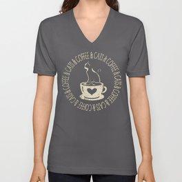 Coffee & Cats & Coffee Unisex V-Neck