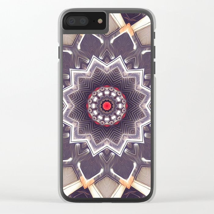 Abstract Gray Mandala Clear iPhone Case