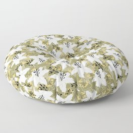 Serene Lily Pattern in Green Floor Pillow