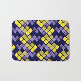 Mozaic pattern in faux gold, yellow, purple and navy indigo Bath Mat