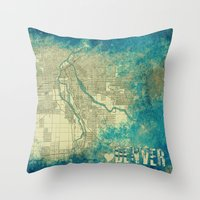 denver Throw Pillows featuring Denver by Artsy B