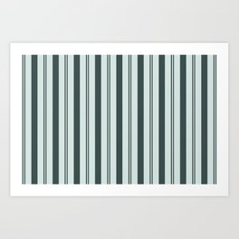 Night Watch Color of the Year Thick and Thin Vertical Stripes on Cave Pearl Light Mint Green Art Print