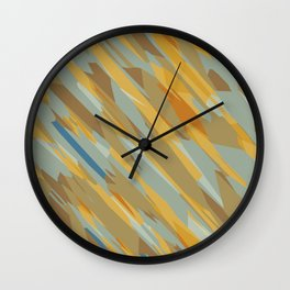 yellow blue and brown abstract background Wall Clock
