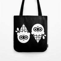 robin hood Tote Bags featuring Robin Hood / Ice Cream by The Pairabirds