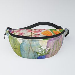 Springs Flowers in Old Jars Fanny Pack