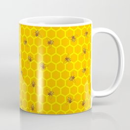 Mind Your Own Beeswax / Bright honeycomb and bee pattern Coffee Mug