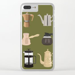 Coffee Pots Clear iPhone Case