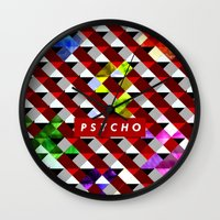psycho Wall Clocks featuring PSYCHO by Tia Hank